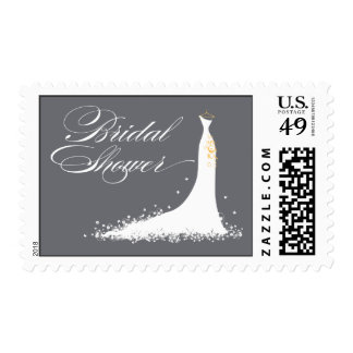 Wedding Gown Bridal Shower Stamp (grey)