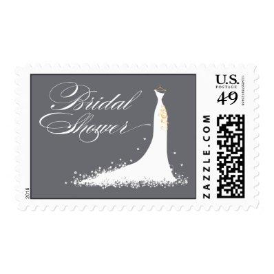 Wedding Gown Bridal Shower Stamp (grey)