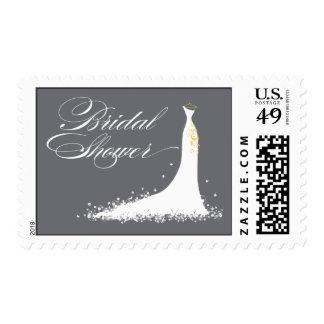 Wedding Gown Bridal Shower Stamp grey