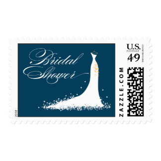 Wedding Gown Bridal Shower Stamp (navy)