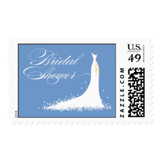 Wedding Gown Bridal Shower Stamp (periwinkle)