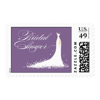 Wedding Gown Bridal Shower Stamp (purple)