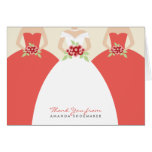 Wedding Gown Bridal Shower Thank You Card (coral)
