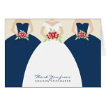 Wedding Gown Bridal Shower Thank You Card (navy)