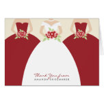 Wedding Gown Bridal Shower Thank You Card (red)