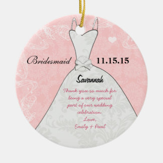 Wedding Gown Bridesmaid Choose Background Color Double-Sided Ceramic Round Christmas Ornament