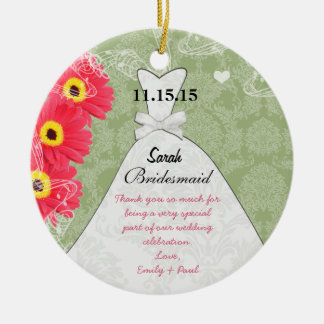 Wedding Gown Bridesmaid Gerber Daisy Choose Color Ceramic Ornament