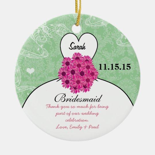 Wedding Gown Bridesmaid Wedding- You Choose Color Ceramic Ornament