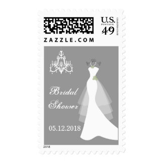 Wedding gown, chandelier on gray Bridal Shower Postage Stamps
