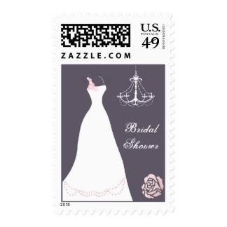 Wedding gown, chandelier on purple Bridal Shower Postage Stamp