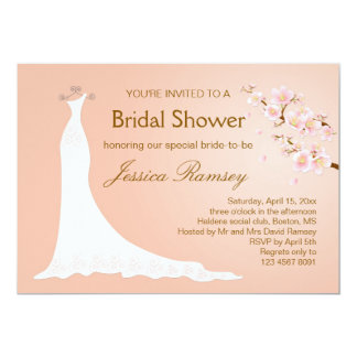 Wedding gown, cherry blossom Bridal Shower Invitation