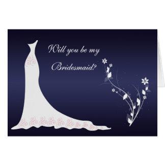 Wedding gown, flowers on dark blue Bridesmaid Greeting Cards