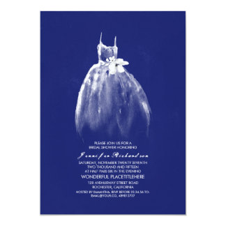 Wedding Gown Navy Bridal Shower Invitations
