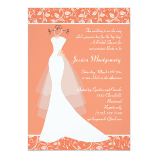 "Wedding gown on light coral Bridal Shower Invite 5"" X 7"" Invitation Card"