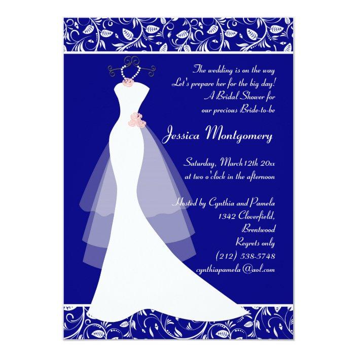 Wedding Gown On Royal Blue Bridal Shower Invite Zazzle Com