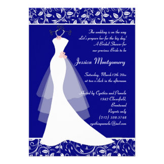 Wedding gown on royal blue Bridal Shower Invite