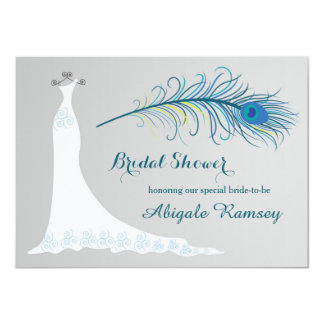 Wedding gown, peacock feather Bridal Shower Invite