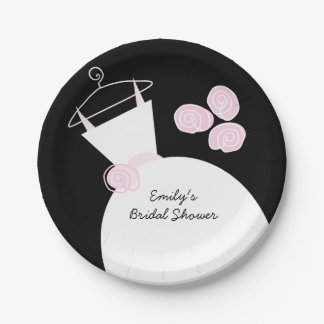 Wedding Gown Pink 'Bridal Shower' black Paper Plate