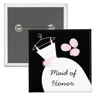 Wedding Gown Pink 'Maid of Honor' black square Pinback Buttons