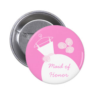 Wedding Gown Pink 'Maid of Honor' button