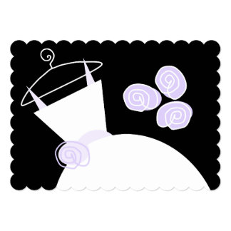 Wedding Gown Purple bridal shower black pastel Card