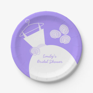 Wedding Gown Purple 'Bridal Shower' paper plate 7 Inch Paper Plate