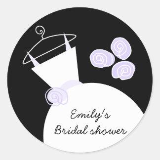 Wedding Gown Purple 'Bridal Shower' round black Classic Round Sticker