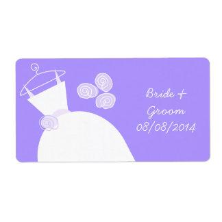 Wedding Gown Purple 'Bride Groom' horizontal Label