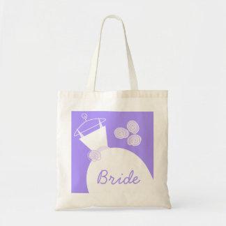 Wedding Gown Purple 'Bride' tote bag