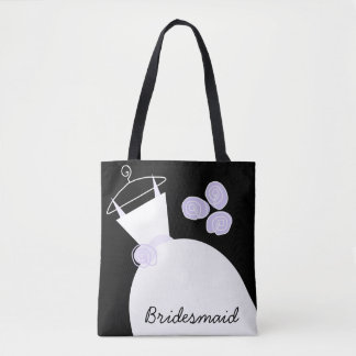Wedding Gown Purple Bridesmaid all over black Tote Bag