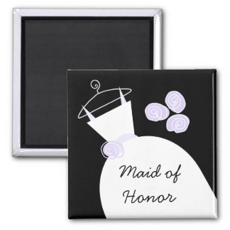 Wedding Gown Purple 'Maid of Honor' black Magnet