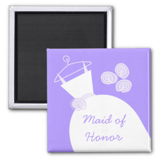 Wedding Gown Purple 'Maid of Honor' Magnet