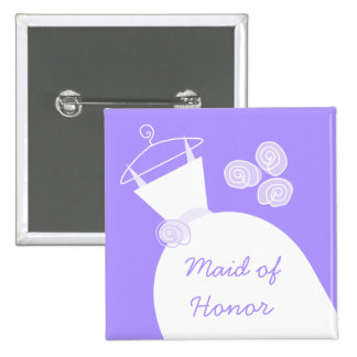 Wedding Gown Purple 'Maid of Honor' square Button