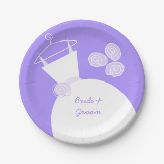 Wedding Gown Purple 'Names' paper plate 7 Inch Paper Plate