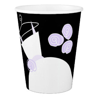 Wedding Gown Purple paper cup black