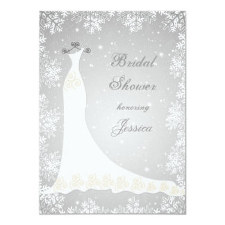 Wedding gown, snowflakes on gray Bridal Shower Card