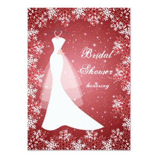 Wedding gown, snowflakes on red Bridal Shower Card