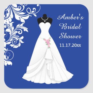 Wedding gown, swirl on royal blue Bridal Shower Square Sticker