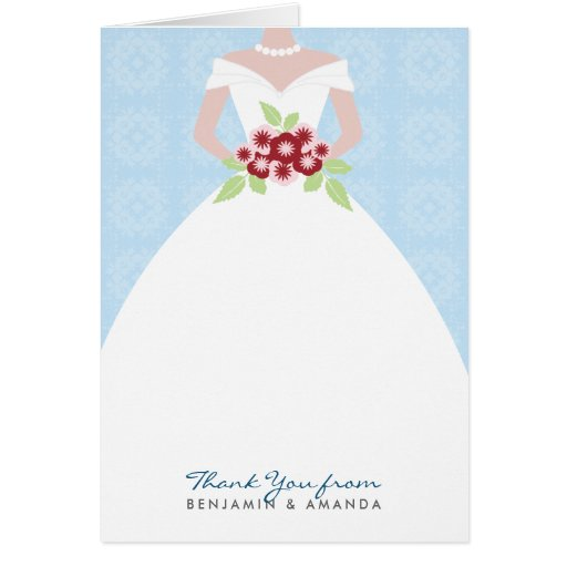 Wedding Gown Thank You Card (blue)