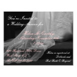 "Wedding Gown Train Bridal Shower Invitation 4.25"" X 5.5"" Invitation Card"