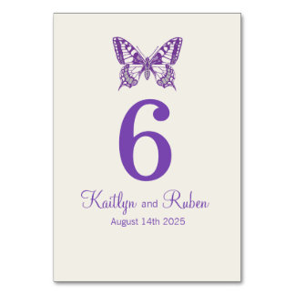 Wedding graphic butterflies name date purple card