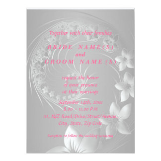 Wedding - Gray Abstract Flowers Card