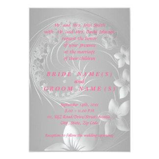 "Wedding - Gray Abstract Flowers 3.5"" X 5"" Invitation Card"