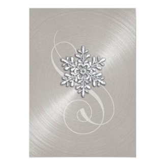 Wedding Gray Background Snowflake with Swash Card