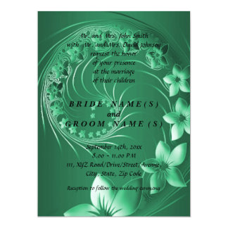 Wedding - Green Abstract Flowers Card