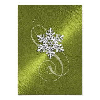 Wedding Green Background Snowflake with Swash Card