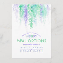 Wedding green flower cascade meal options card