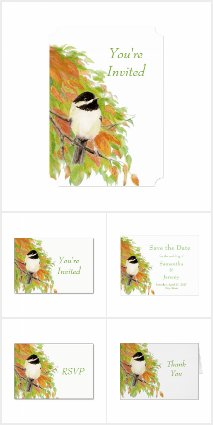 Wedding Green, Gold, Orange Autumn Chickadee
