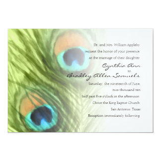 Wedding Green Peacock Feathers 5x7 Paper Invitation Card