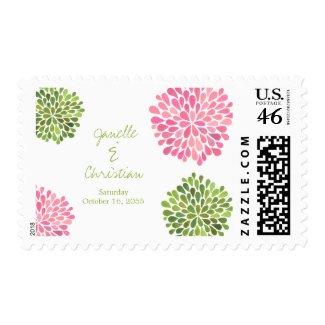 Wedding Green & Pink Flower Petals Stamp